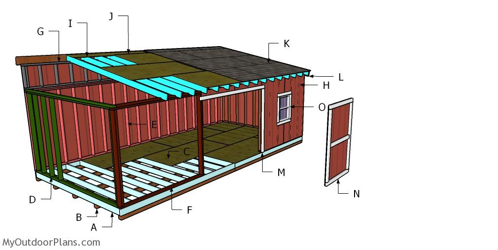 12x24 Lean to Shed Roof Plans