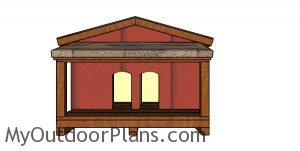 Double cat house with insulation plans - front view
