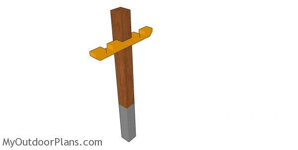 Fitting the cross support - mailbox post