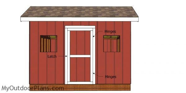 Fitting the door to the front of the shed