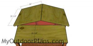 Fitting the roof sheets - double cat house