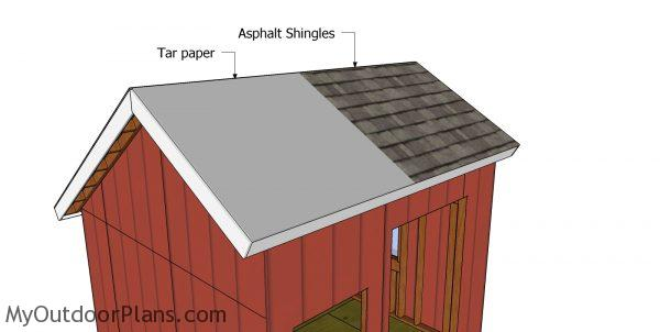 Fitting the roofing to the 10x10 saltbox shed