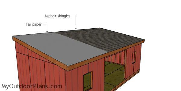 Fitting the roofing to the 12x24 lean to shed