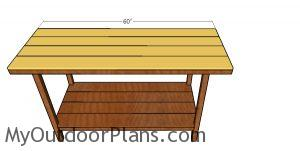 Fitting the tabletop slats to the workbench