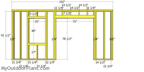 Front wall frame - 10x16 shed with saltbox