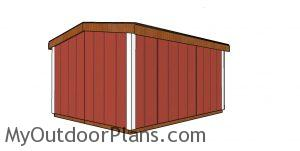 8x10 6 ft tall shed plans - back view