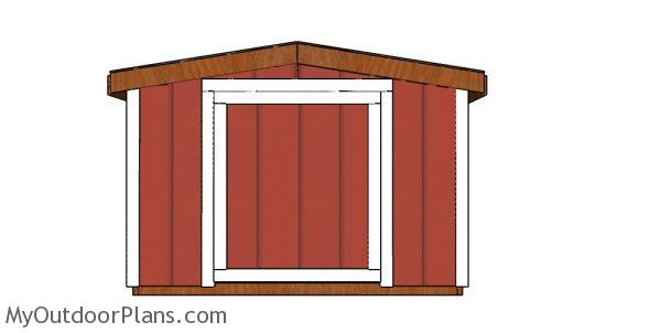 8x10 6 ft tall shed plans - front view