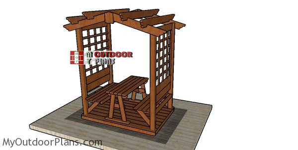 Arbor-with-picnic-table-plans