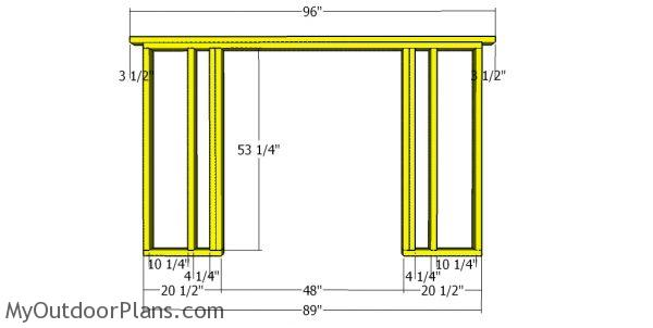 Front wall frame - 8x10 shed