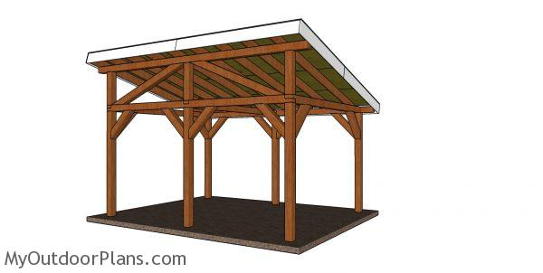 12x16 Lean to pavilion plans - back view