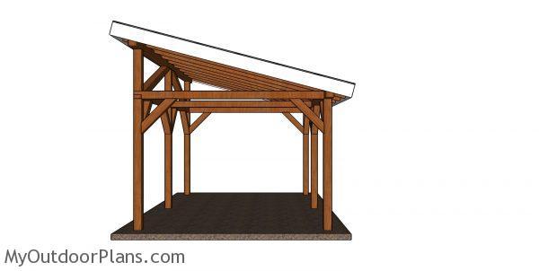 12x16 Lean to pavilion plans - side view