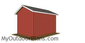 12x16 Pole Barn Plans - back view