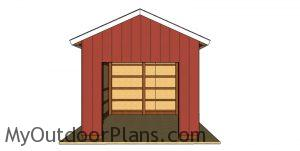12x16 Pole Barn Plans - front view