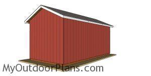 12x24 Pole Barn Plans - back view