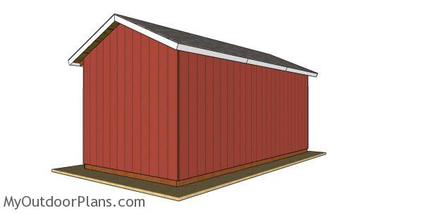 12x24 Pole Barn Plans - back view