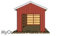 12x24 Pole Barn Plans - front view