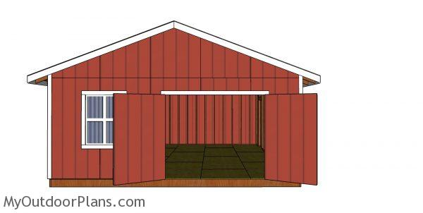 20x24 Shed Plans - front view