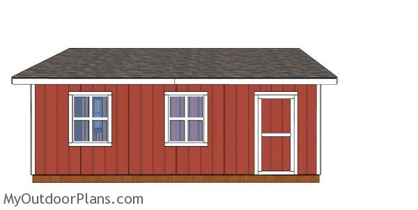 20x24 Shed Plans - side view