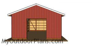 20x30 pole barn plans - front view