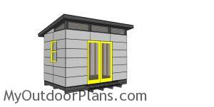 8x12 Modern Office Shed Plans