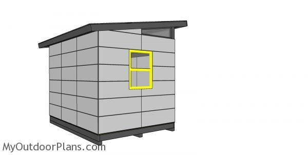 8x12 Modern Office Shed Plans - back view