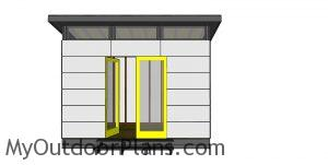 8x12 Modern Office Shed Plans - front view
