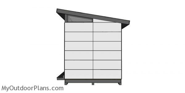 8x12 Modern Office Shed Plans - side view