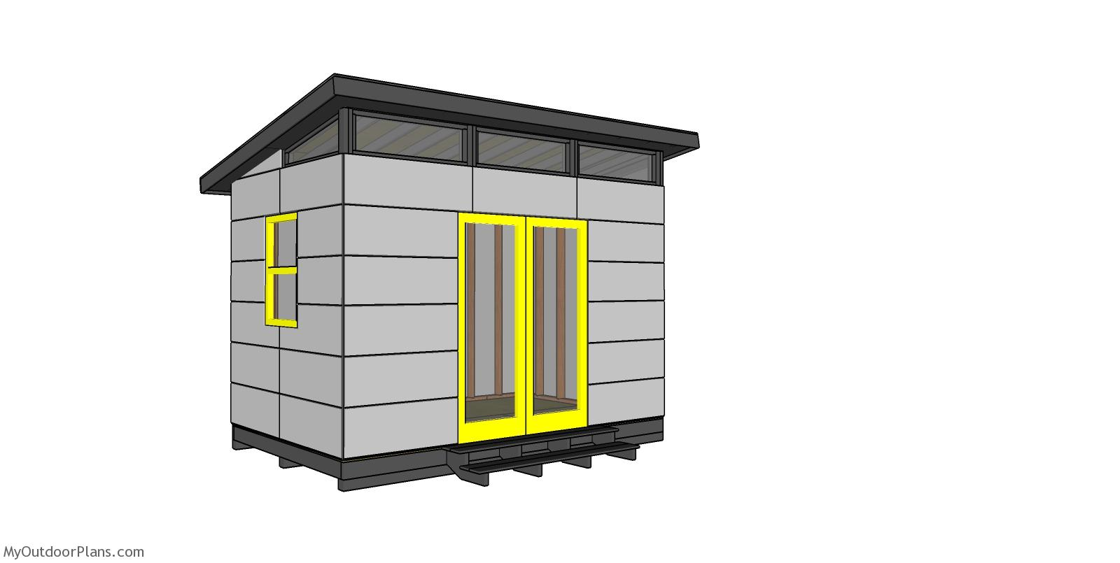 8x12 Modern Office Shed Plans - Free PDF Download