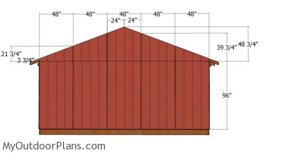 Back wall panels - 20x24 shed