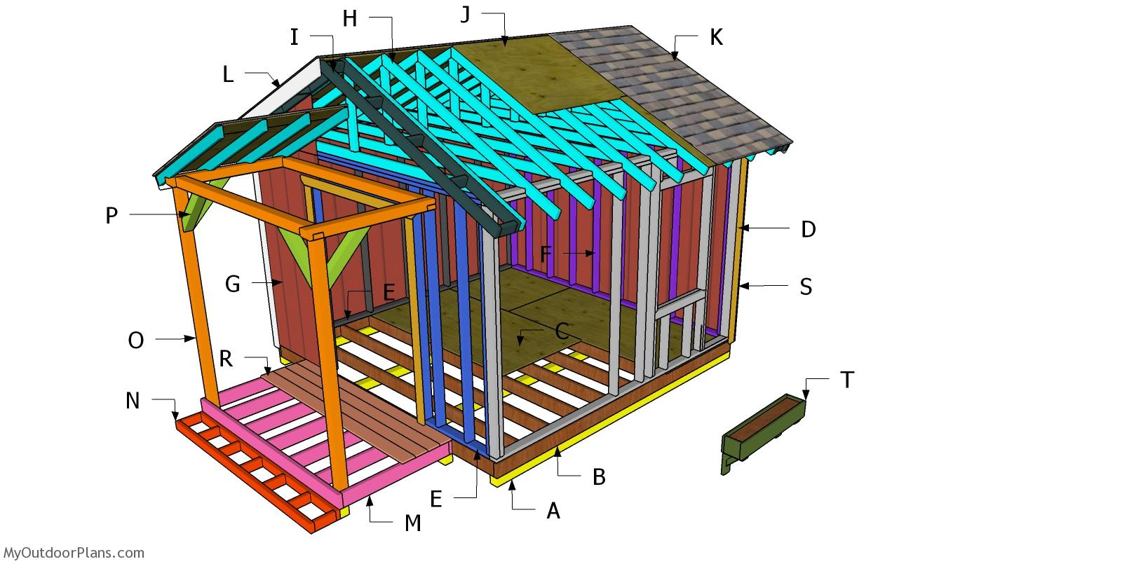 12x12 She Shed Porch - Free DIY Plans