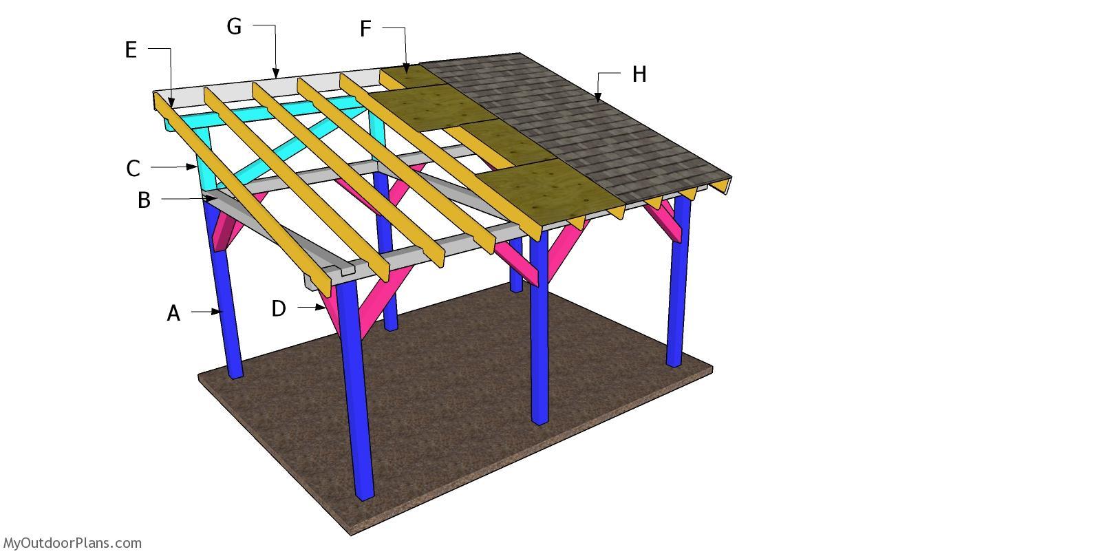 12x16 Lean to Pavilion Roof Plans