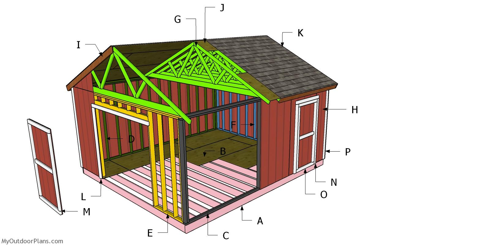 16x18 Gable Shed Roof Plans