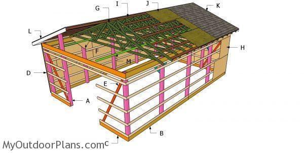 20x30 Gable Pole Barn Roof Plans | MyOutdoorPlans | Free ...