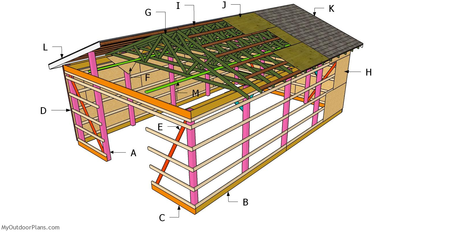 20x30 Gable Pole Barn Roof Plans