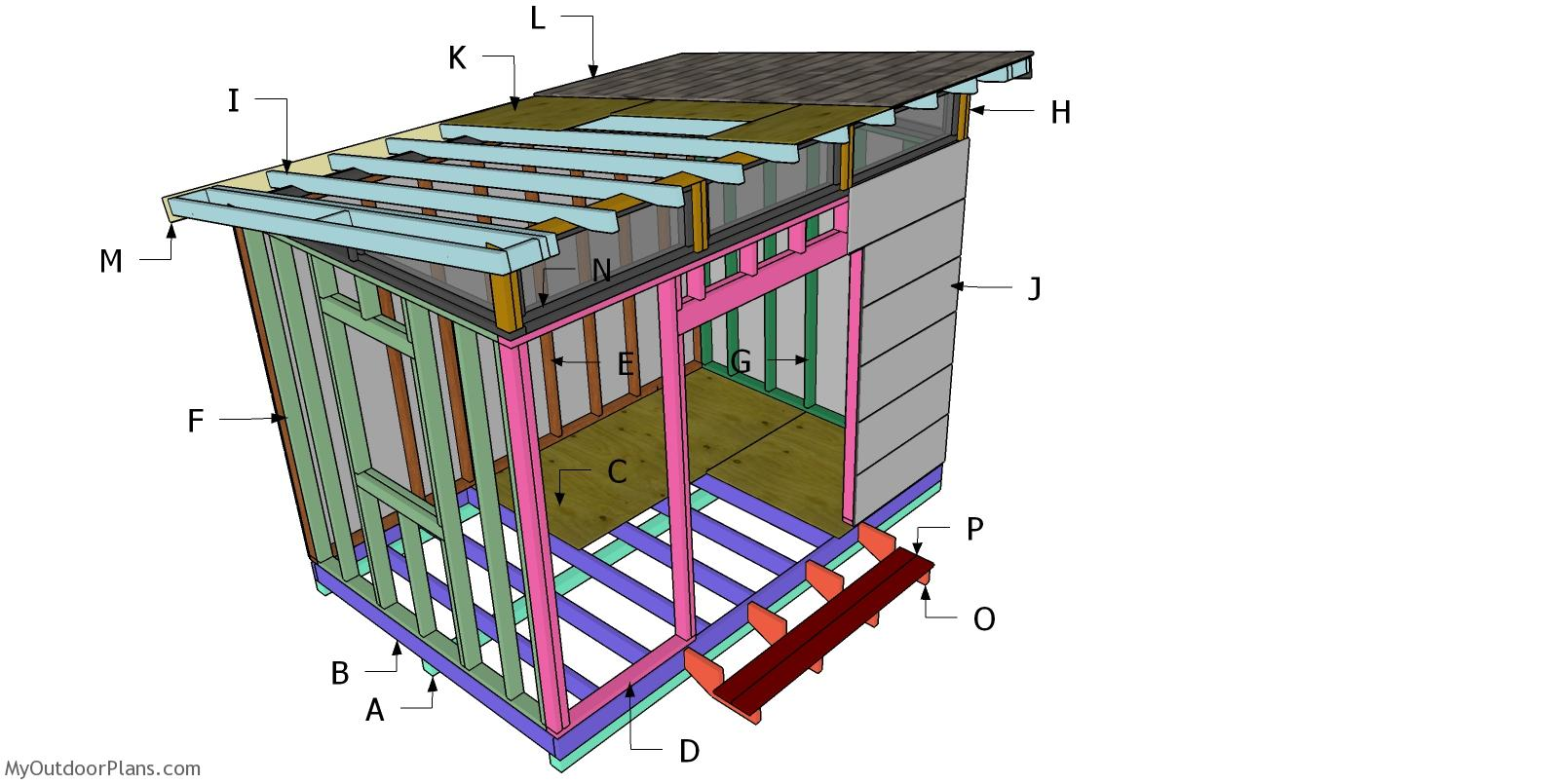 8x12 Lean to Office Shed Roof - Free DIY Plans