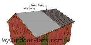 Fitting the roofing - gable shed