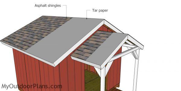 Fitting the roofing - she shed