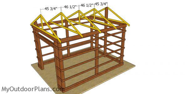 Fitting the trusses - 12x16 pole barn