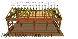 Fitting the trusses to the large pole barn