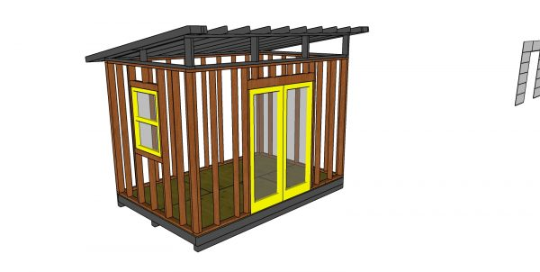 Fitting the window and double doors - 8x12 modern shed