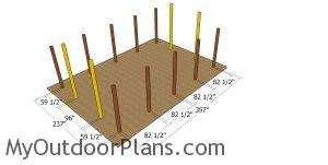 Laying out the posts for the 20x30 pole barn