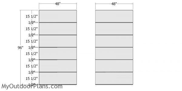 Plain side wall panels - 8x12 modern shed