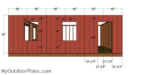 Side wall with window - 20x24 shed