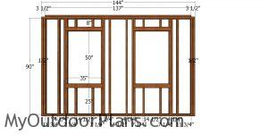 Side wall with window frame - she shed plans