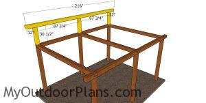 Top back wall frame - 12x16 lean to pavilion