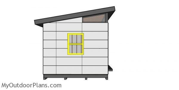 10x20 Lean to Shed Plans - side view