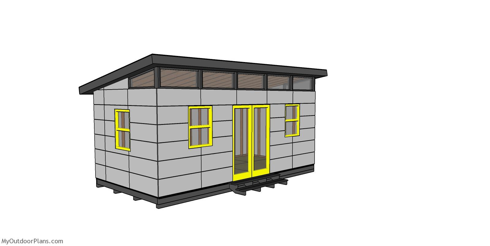 10x20 Modern Office Shed Plans - Free PDF Download