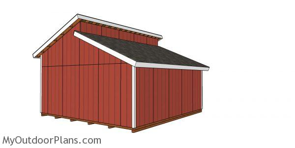 20x20 Clerestory Shed Plans - back view