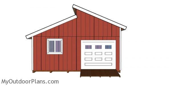 20x20 Clerestory Shed Plans front view
