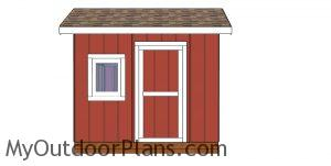 8x10 saltbox shed plans - front view